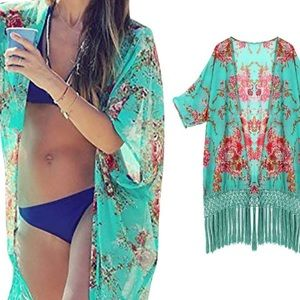 Other - Women Tassel Fringe Chiffon Floral Beach Cover Up