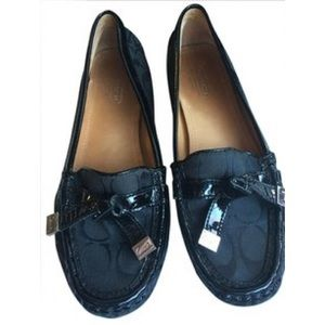 aa49998b71a Coach Frieda black fabric signature loafer flat