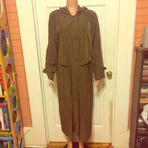 Gallery Jackets & Blazers - Brown Gallery Silky Trench/Raincoat w/ Hood Size 8