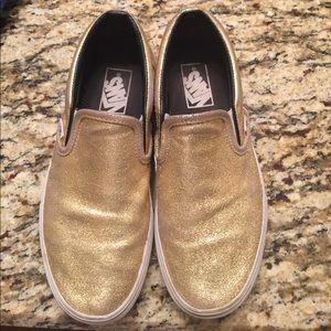 J.Crew x Vans Gold Slip On Sneakers