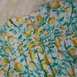 Elle Tops - Elle Lemon Print Flowy Ruffle Blouse Size Large