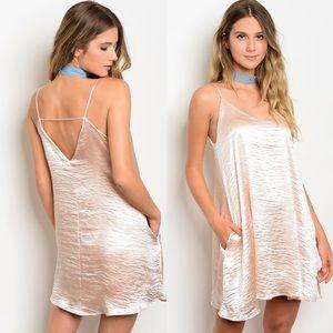 BellaBae Dresses & Skirts - 🆕Peach Satin Pocket Slip mini dress