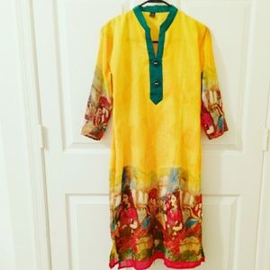 Dresses & Skirts - Yellow indian kurta dress with ethnic print