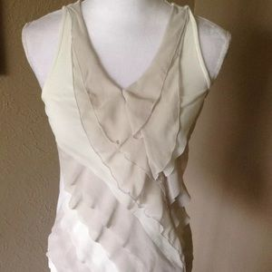 Express Sleeveless Tiered Ruffle Blouse Sz XS
