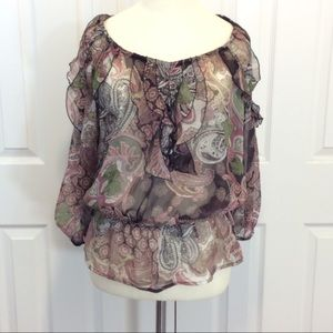 Sunny Leigh sheer blouse with ruffles size small