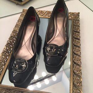 Naturalizer Shoes - Naturalizer Faux Patent Leather Buckle Heel • EUC