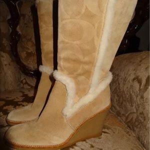 Coach Shoes - Coach Signature Jordana Khaki Suede Boots