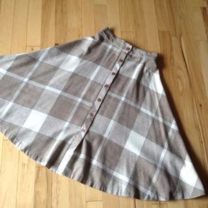 Vintage made in US Button Up Aline plaid skirt