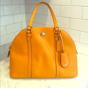 Peyton Leather Cora Domed Satchel- Bright Orange