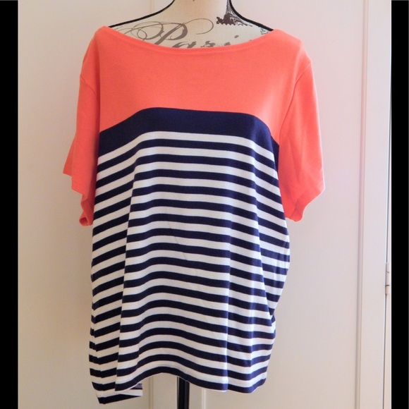 Karen Scott Tops - Karen Scott Striped Peach, Navy, White Top