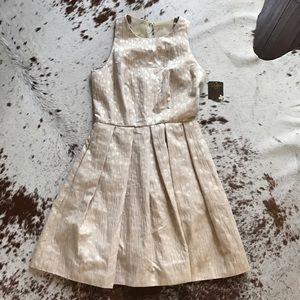 Taylor Dresses Dresses & Skirts - NWT Taylor natural gold metallic jacquard dress 2