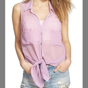 Band of Gypsies Tops - Band of Gypsies Pastel Sheer Button Tank Blouse