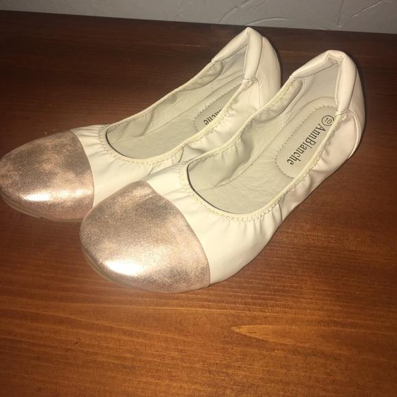 3148c8da7546 Rose gold toe and cream ballet flats. M 593d518278b31c96a901370a