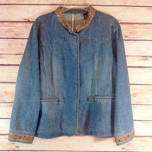 Liz Claiborne Jackets & Blazers - Liz Claiborne Beaded Jean Jacket 2X EUC