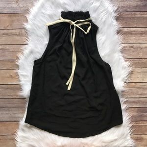 Who What Wear Tops - Who What Wear Black High Collar Sleeveless Blouse