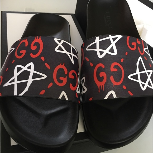 8fbda4c31a0 Gucci ghost navy red slide sandals size 10 men