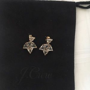 J. Crew crystal Triangle Cluster earrings