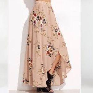 Makemechic Dresses & Skirts - Maxi high low tan floral printed wrap skirt NWOT