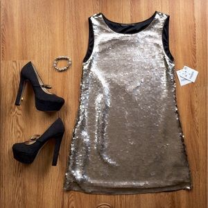 Sale❤️❤️❤️NWT Zara sequin dress shift platinum M