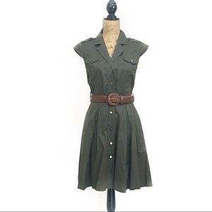 A. byer Dresses & Skirts - Military green front button down dress w/ belt