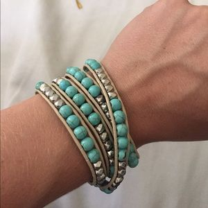 Jewelry - Turquoise and Silver Wrap Bracelet