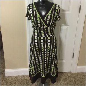 Faux wrap shirred waist dress