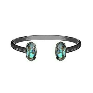 Kendra Scott Gunmetal Abalone Elton cuff bracelet
