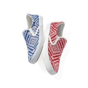 Boutique Shoes - Aztec Woven Print Slip On Sneaker Espadrille
