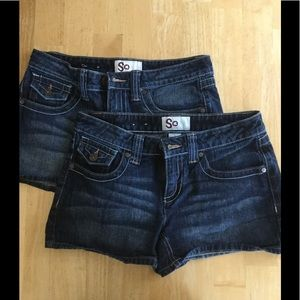 2 pair denim shorts. Size 5