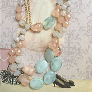 coral and mint statement Necklace