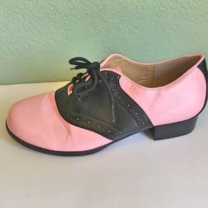 Ellie Shoes - Ellie Black & Pink Oxford/Saddle Shoes