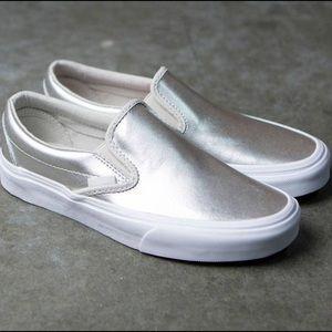 Vans Classic Metallic Slip On Sneaker {Silver} 10