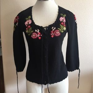 Betsy Johnson embroidered sweater