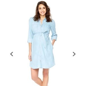 Maternity chambray shirt dress