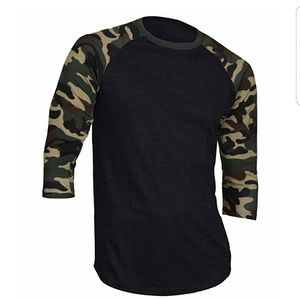 Other - Black camouflage 3/4 sleeve shirt