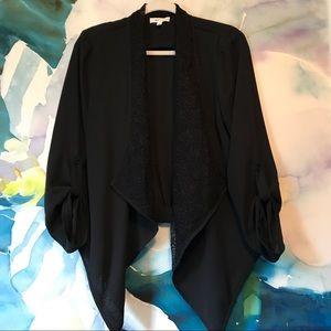 Mine Too Jackets & Blazers - Mine Too • Silky High Low Blazer with Lace Detail
