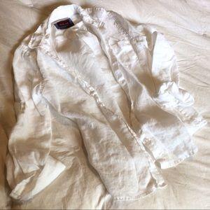 Jachs Tops - jach's girlfriend white linen button down shirt