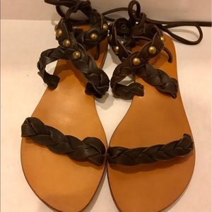 Cocobelle Shoes - Cocobelle Brown Braided Leather Wrap Sandals