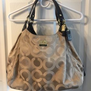 Coach satin tan Hobo style bag.