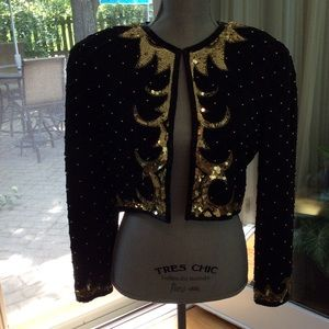 A.J. Bari Jackets & Blazers - Stunning Black and Gold Sequined Evening Jacket