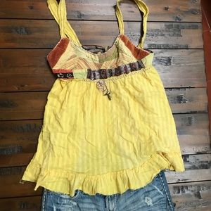 Free People Yellow Patchwork Tank! Size Small!