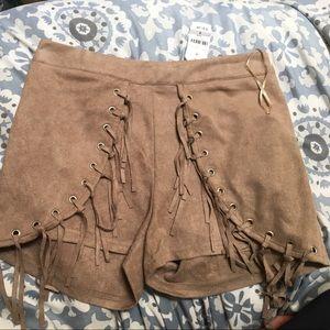 LF soft tan suede shorts