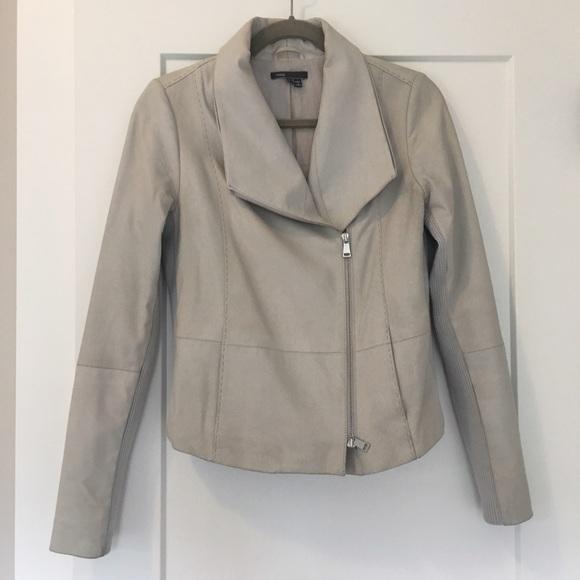 7868f5413 Vince leather scuba jacket light silver gray small