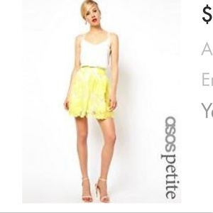 ASOS Dresses & Skirts - Asos petite floral embellished 3D mini skirt lemon