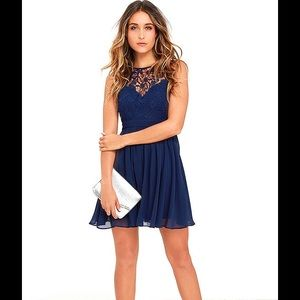 Jolly Song Navy Blue Lace Skater Dress