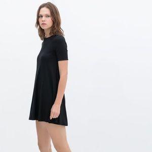 Zara Zipper Back Black T shirt dress
