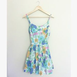 Vintage 1960's Floral Pleated Romper Dress
