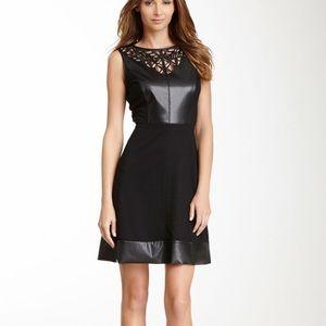 Laser cut faux black dress