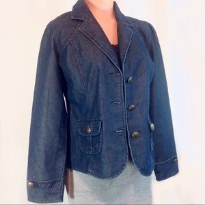 French Cuff Dark Wash Jean Jacket Medium EUC