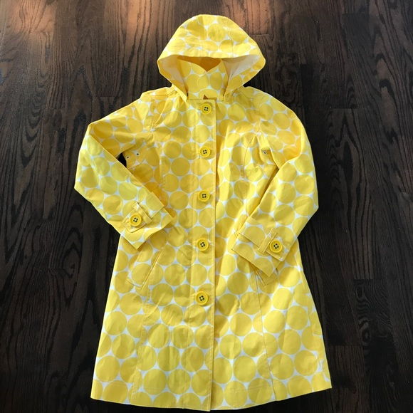 Boden boden rainy day mac jacket raincoat yellow circles for Boden yellow coat